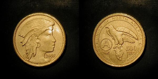 Amero zelta monēta no www.amerocurrency.com/2008coins/500goldmatte2008una.html