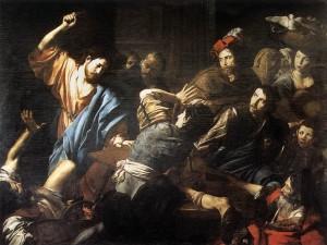 Valentin De Boulogne. Kristus izdzen no tempļa naudas mijējus