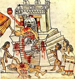 Cilvēku ziedošana. Ilustrācija no Codex Magliabechiano