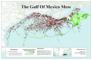 Naftas platformas un naftas noplūde Meksikas līcī, karte. Avots: http://www.flickr.com/photos/50065183@N06/4593362250/